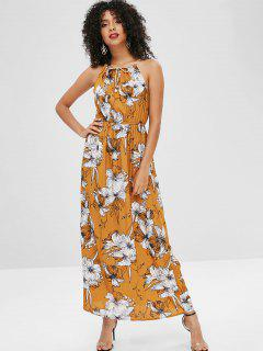 Cord Strap Maxi Floral Beach Dress - Sandy Brown S