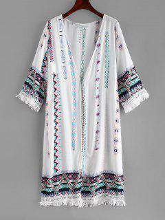 Printed Fringed Beach Kimono - White