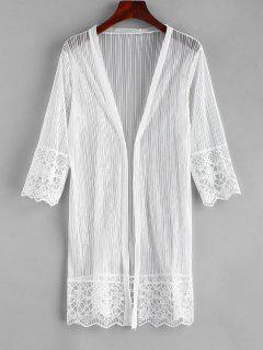 Embroidered Beach Kimono - White