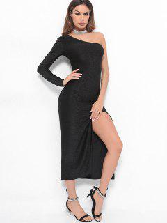 High Slit One Shoulder Maxi Dress - Black S