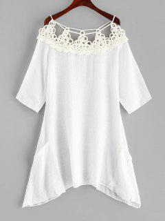 Crocheted Panel Cover-up Dress - White