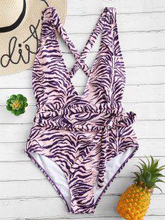 ZAFUL Zebra Print Crisscross One-piece Swimsuit - Purple Amethyst L
