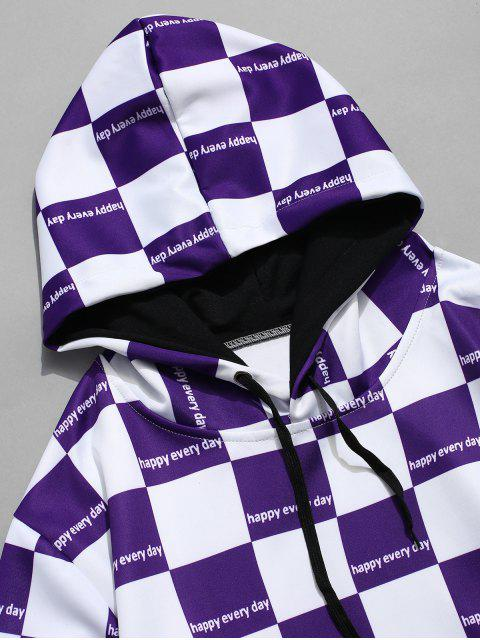 ladies Plaid Print Color Block Casual Hoodie - PURPLE AMETHYST M Mobile