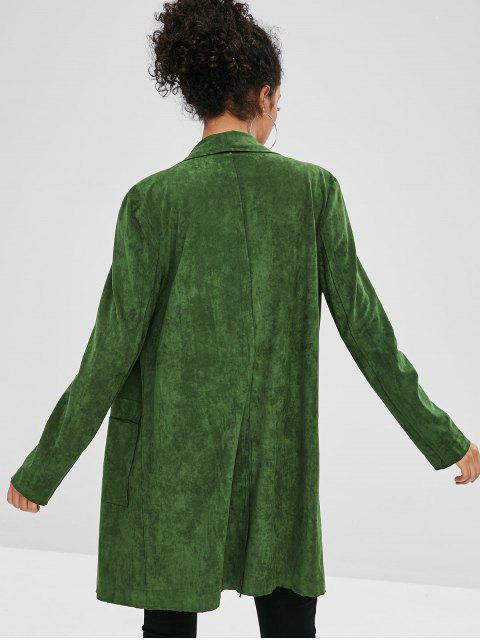 hot ZAFUL Faux Suede Open Pocket Coat - DARK GREEN L Mobile