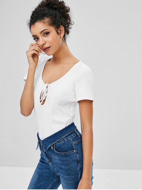 latest ZAFUL Cut Out Knotted Plain Tee - WHITE S Mobile