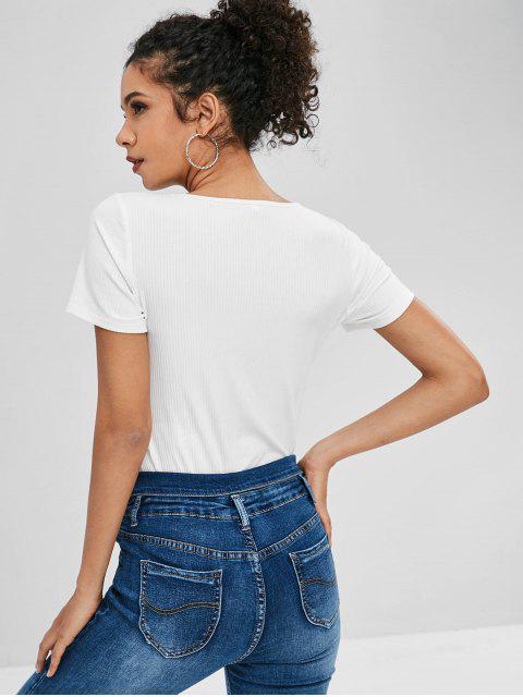 hot ZAFUL Cut Out Knotted Plain Tee - WHITE L Mobile