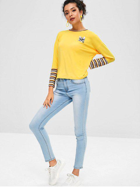 hot Kitten Applique Striped Ribbed Trim Tee - YELLOW L Mobile