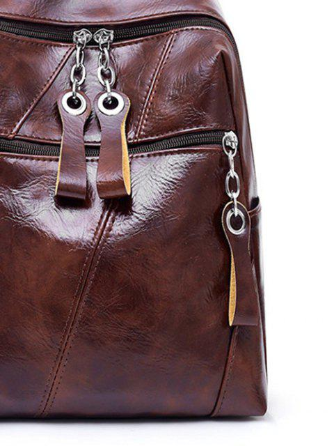 women's Zip Pocket PU Leather School Bag - COFFEE  Mobile