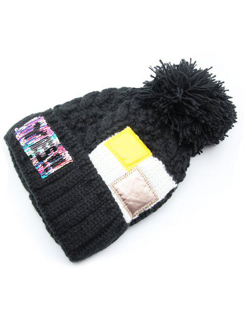 trendy Fuzzy Ball Decoration Flanging Knitted Beanie - BLACK  Mobile