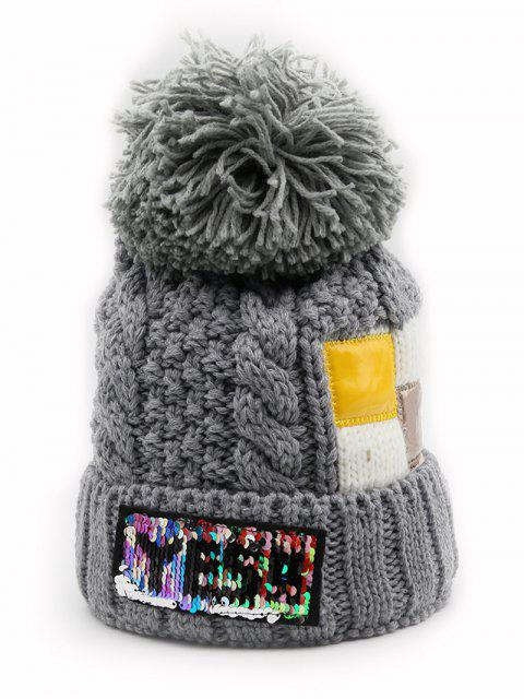 new Fuzzy Ball Decoration Flanging Knitted Beanie - GRAY  Mobile