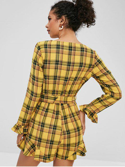 trendy ZAFUL Ruffles Plaid Belted Wide Leg Romper - YELLOW XL Mobile