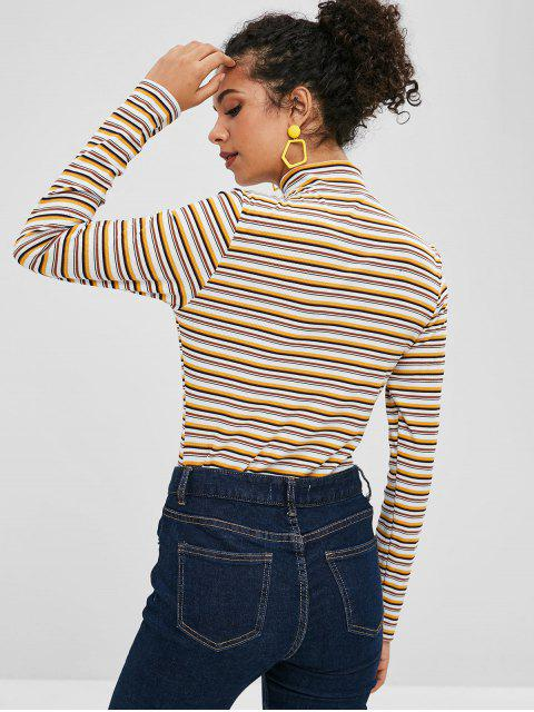 chic ZAFUL Half Zip Striped Long Sleeves Knitwear - MULTI M Mobile