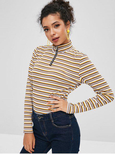 fancy ZAFUL Half Zip Striped Long Sleeves Knitwear - MULTI L Mobile