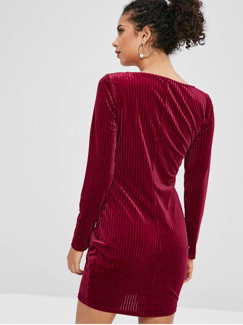 ZAFUL Robe Moulante en Velours à Manches Longues - Rouge Vineux S Mobile