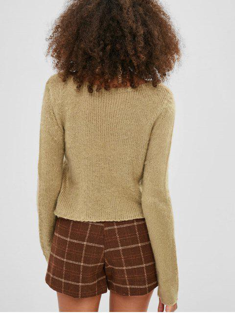 lady Scoop Neck Crop Sweater - TAN ONE SIZE Mobile