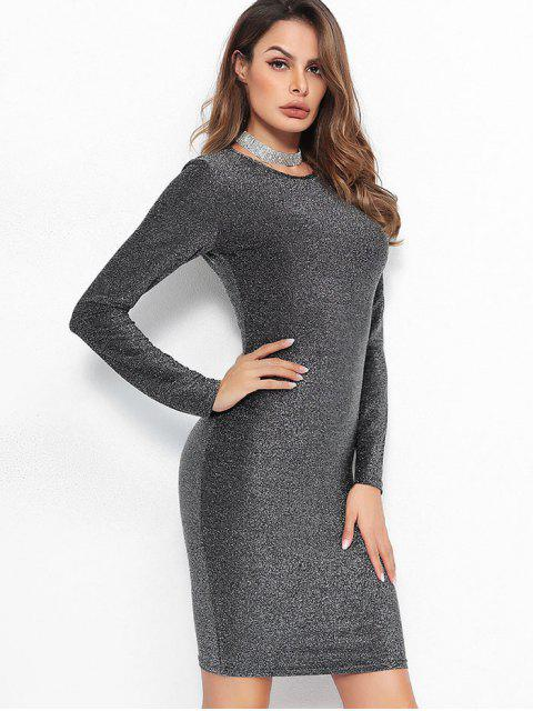 women Long Sleeves Sparkly Bodycon Dress - DARK GRAY S Mobile