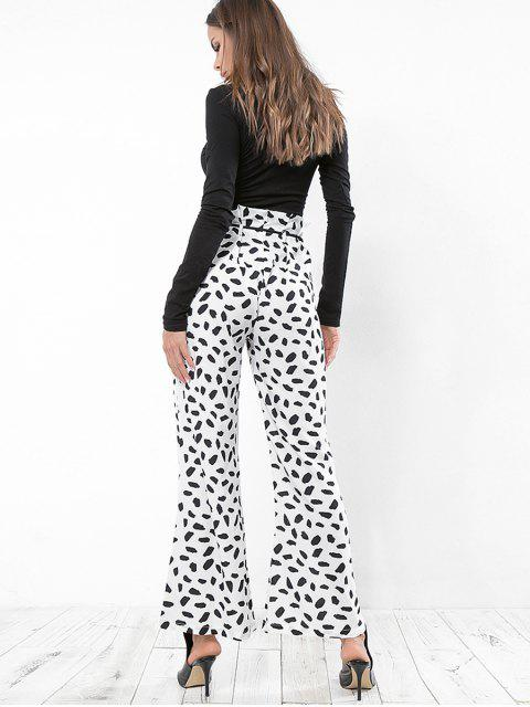 shops Leopard Print Belted Wide Leg Pants - WHITE M Mobile
