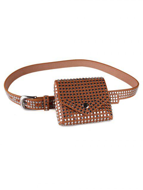 hot Rivet Embellished Fanny Pack Belt - LIGHT BROWN  Mobile