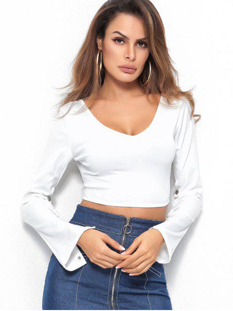 womens Buttoned Sleeves Backless Crop Tee - WHITE L Mobile