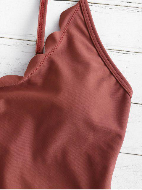 buy High Waisted Scalloped One Piece Swimsuit - CHESTNUT RED M Mobile