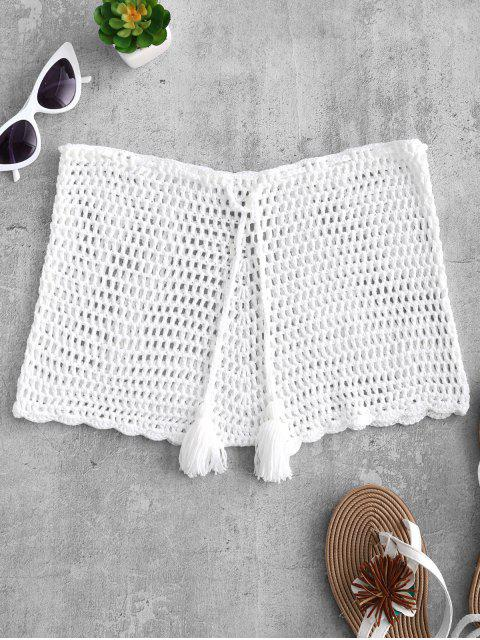 fancy Drawstring Crochet Shorts - WARM WHITE S Mobile