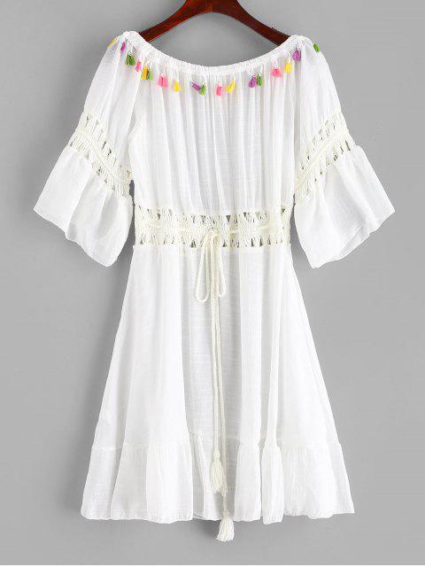 online Tassels Crochet Panel Off The Shoulder Dress - WHITE ONE SIZE Mobile