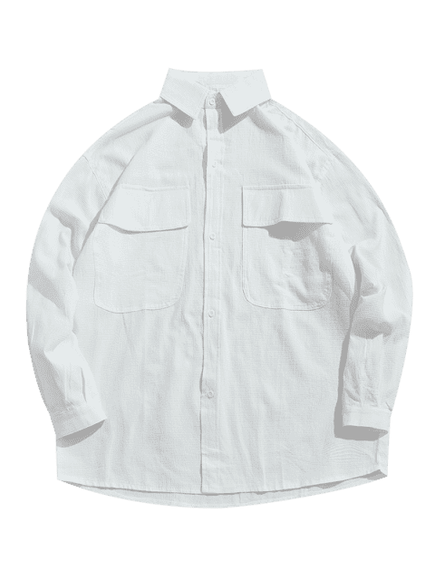 trendy Button Fly Chest Pockets Jacket - WHITE 2XL Mobile