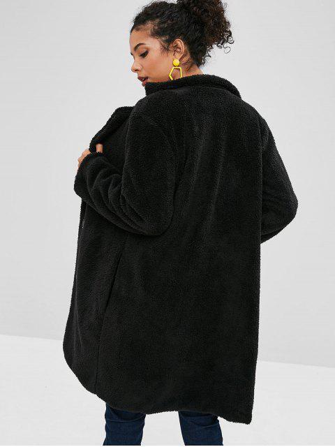 Manteau à Simple Boutonnage en Fausse Laine - Noir S Mobile