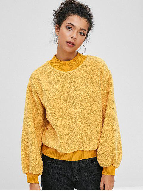 outfits Fluffy Color Block Teddy Sweatshirt - GOLDENROD XL Mobile