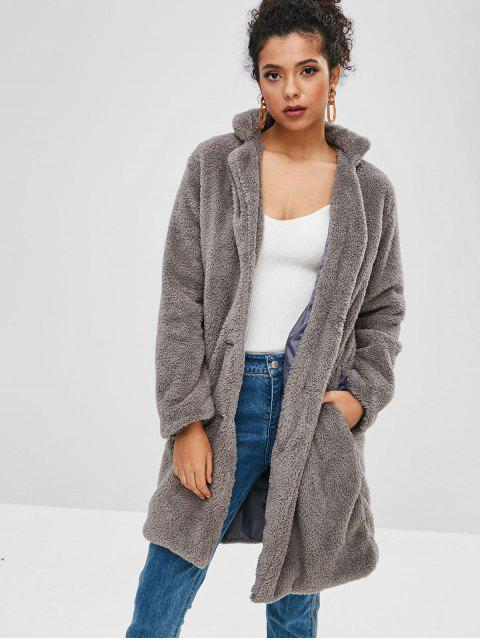 buy Fluffy Shearling Single Breasted Coat - GRAY L Mobile