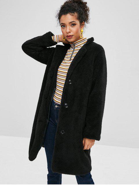 Abrigo de un solo pecho de piel de oveja esponjoso - Negro M Mobile