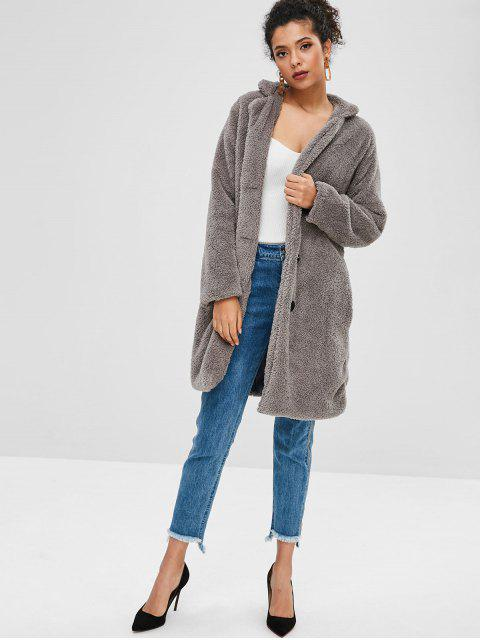 affordable Fluffy Shearling Single Breasted Coat - GRAY M Mobile