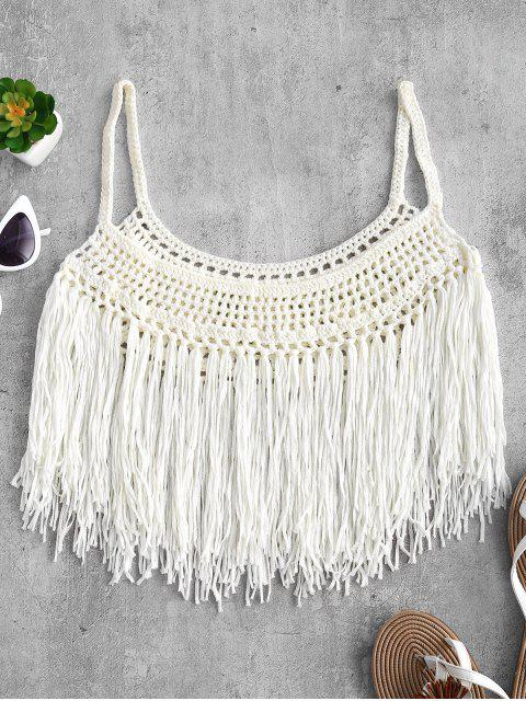 shops Fringed Crochet Cami Top - WARM WHITE L Mobile