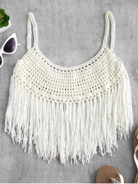 shops Fringed Crochet Cami Top - WARM WHITE M Mobile