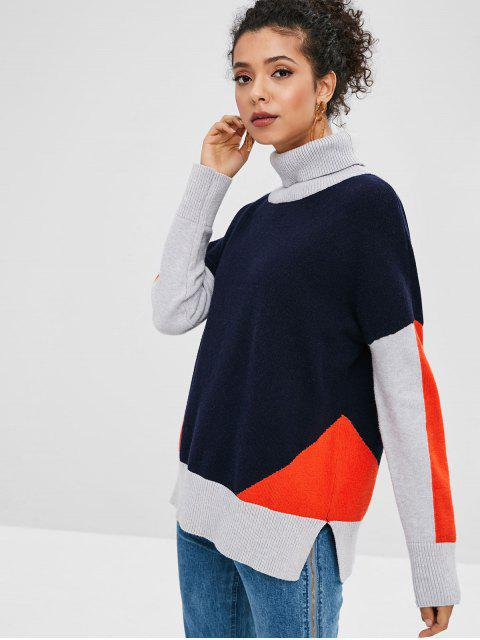 trendy Slit Turtleneck Color Block Sweater - DARK SLATE BLUE XL Mobile