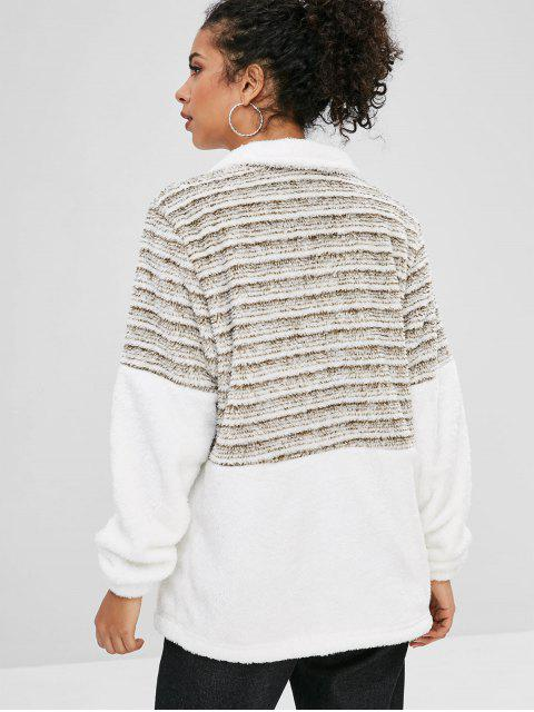 Sweat-shirt Teddy Rayé Contrasté à Demi-Zip - Blanc M Mobile