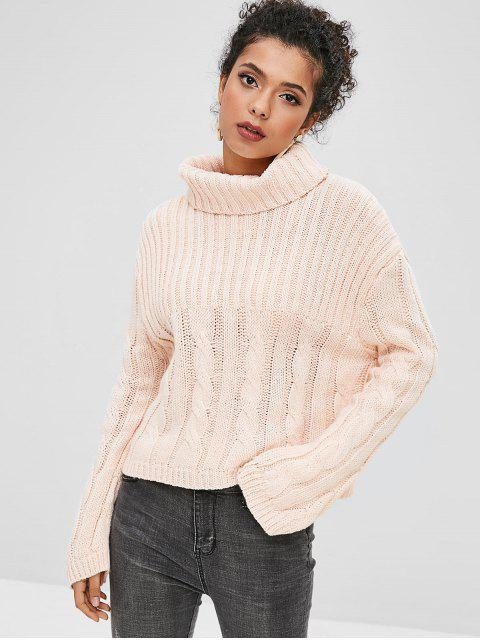 sale Ribbed Cable Knit Turtleneck Boxy Sweater - DEEP PEACH ONE SIZE Mobile