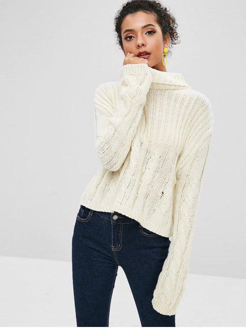 buy Ribbed Cable Knit Turtleneck Boxy Sweater - WARM WHITE ONE SIZE Mobile