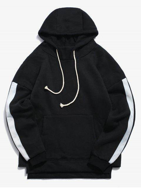fashion Sleeve Stripe Casual Hoodie - BLACK XL Mobile