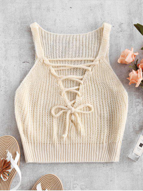 ladies Lace-up Crochet Top - BLANCHED ALMOND M Mobile