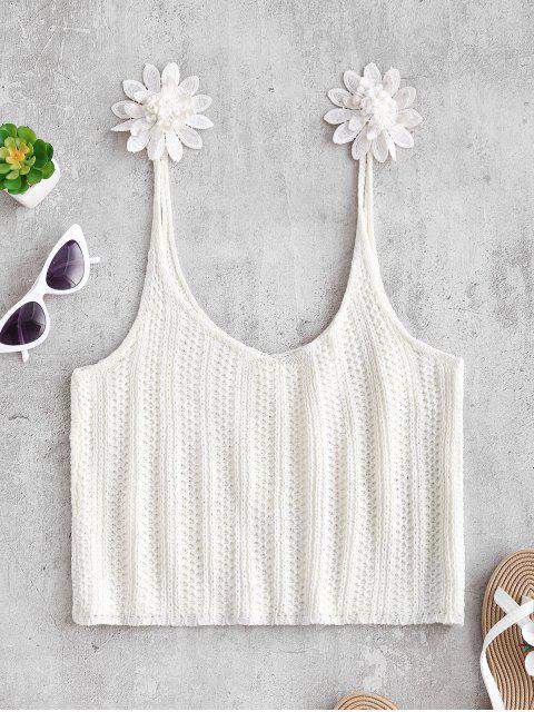 Вязание Цветочный принт Топ - Белый XL Mobile
