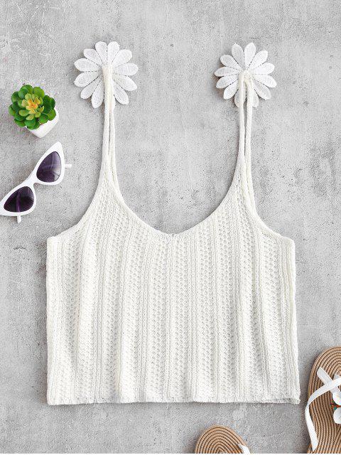 Haut à Bretelle Fleur au Crochet - Blanc XL Mobile