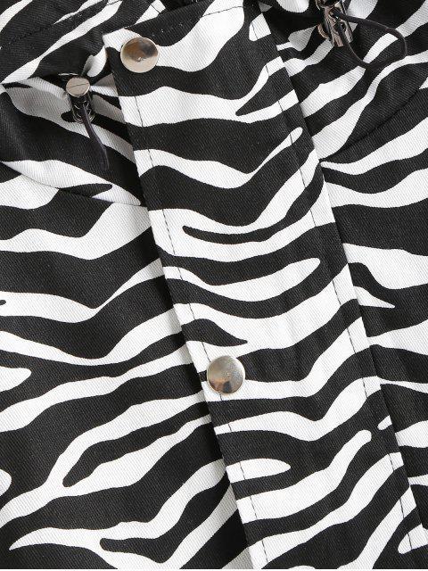 latest Zebra Hooded Raglan Sleeve Jacket - BLACK XL Mobile