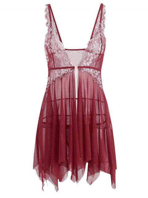 hot Lace Mesh Handkerchief Sheer Babydoll - RED L Mobile