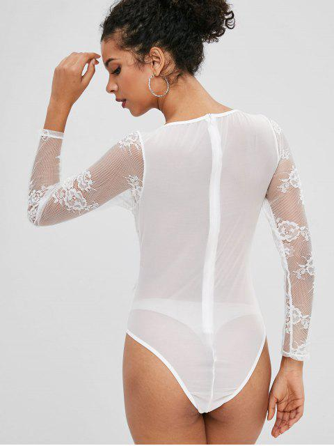 lady Back Zipper Lace Panel Bodysuit - WHITE S Mobile