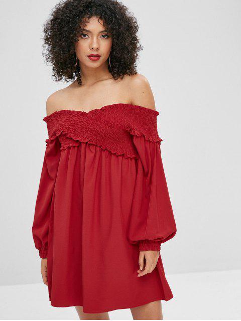 Robe Plissée Croisée à Epaule Dénudée - Rouge Cerise M Mobile