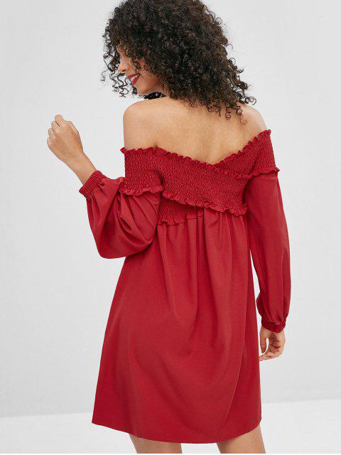 sale Criss Cross Smocked Off Shoulder Dress - CHERRY RED M Mobile