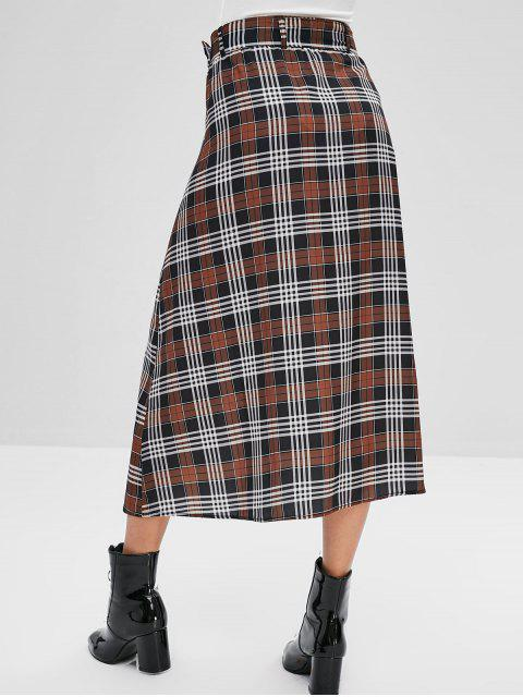 ladies Button Up Plaid Belted A Line Skirt - MULTI M Mobile