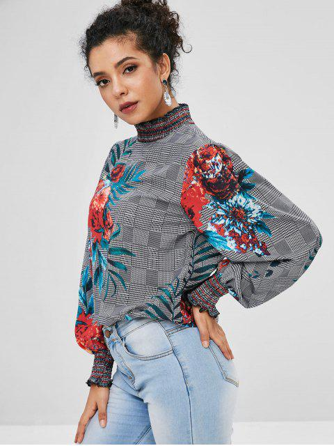 outfit Smocked Panel Floral Plaid Blouse - MULTI S Mobile