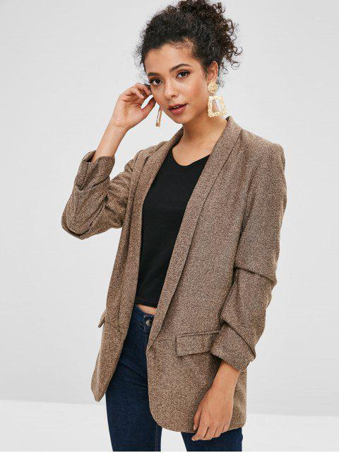 womens Ruched Sleeves Pockets Longline Blazer - BROWN BEAR XS Mobile